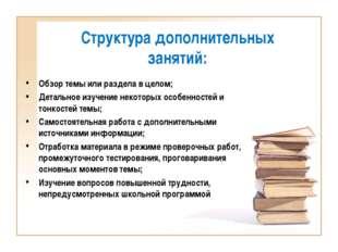 Структура дополнительных занятий: Обзор темы или раздела в целом; Детальное и