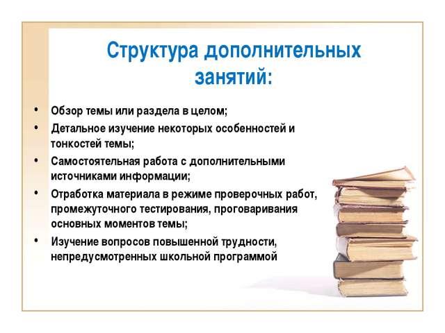 Структура дополнительных занятий: Обзор темы или раздела в целом; Детальное и...