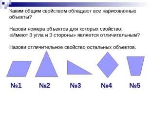 Каким общим свойством обладают все нарисованные объекты? Назови номера объект