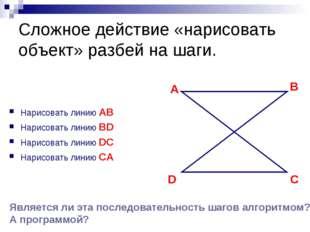 Сложное действие «нарисовать объект» разбей на шаги. Нарисовать линию AB Нари