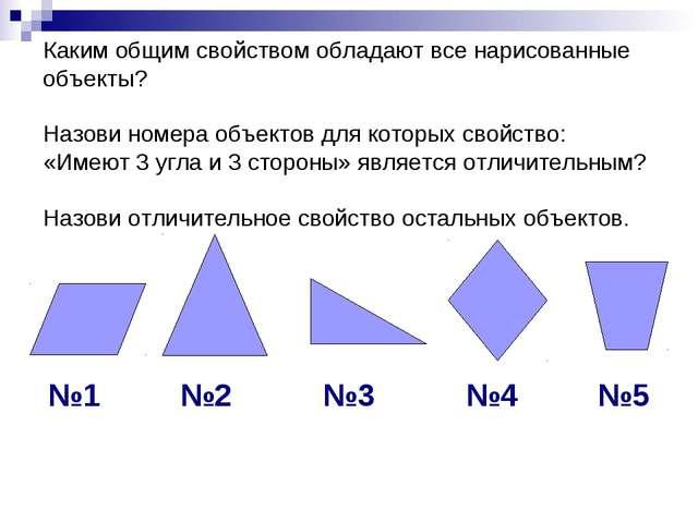 Каким общим свойством обладают все нарисованные объекты? Назови номера объект...