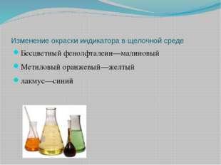 Изменение окраски индикатора в щелочной среде Бесцветный фенолфталеин—малинов
