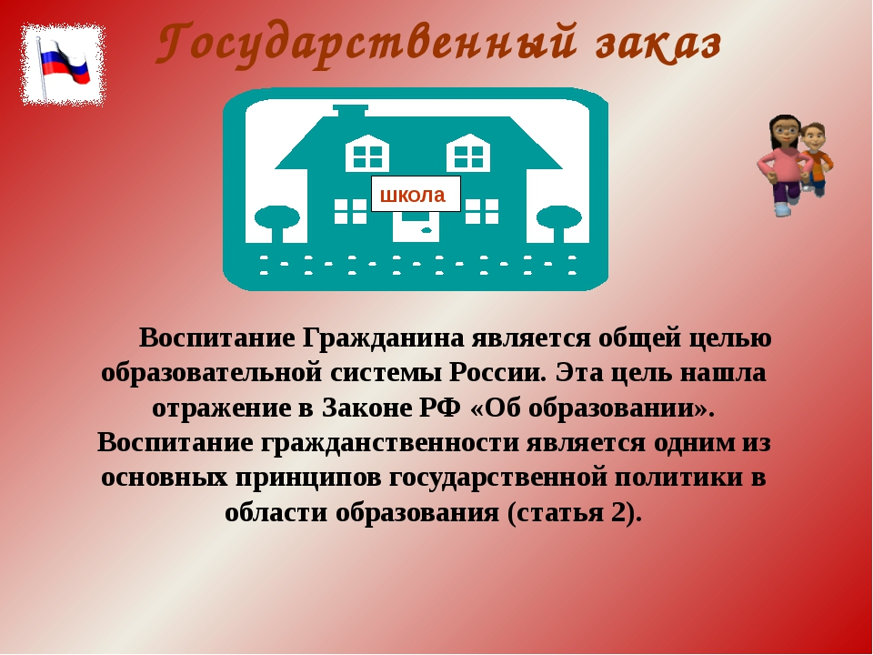 Государственный заказ Воспитание Гражданина является общей целью образователь...