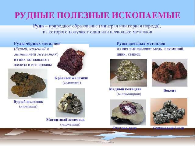 РУДНЫЕ ПОЛЕЗНЫЕ ИСКОПАЕМЫЕ Ртутная руда Руда – природное образование (минерал...