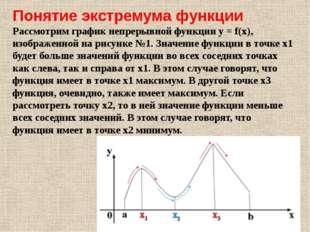 Понятие экстремума функции Рассмотрим график непрерывной функции y = f(x), из