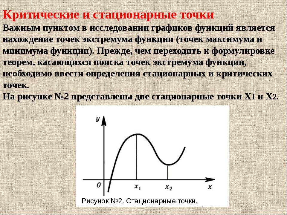 Критические и стационарные точки Важным пунктом в исследовании графиков функц...