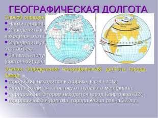 ГЕОГРАФИЧЕСКАЯ ДОЛГОТА Способ определения географической долготы: Найти геогр