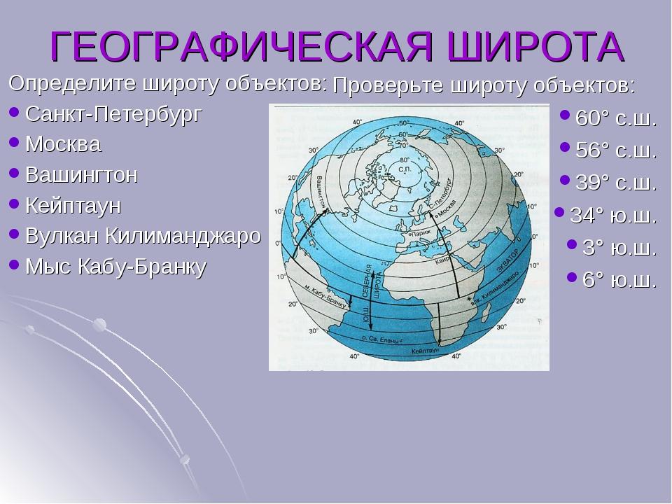 Определите широту объектов: Санкт-Петербург Москва Вашингтон Кейптаун Вулкан...