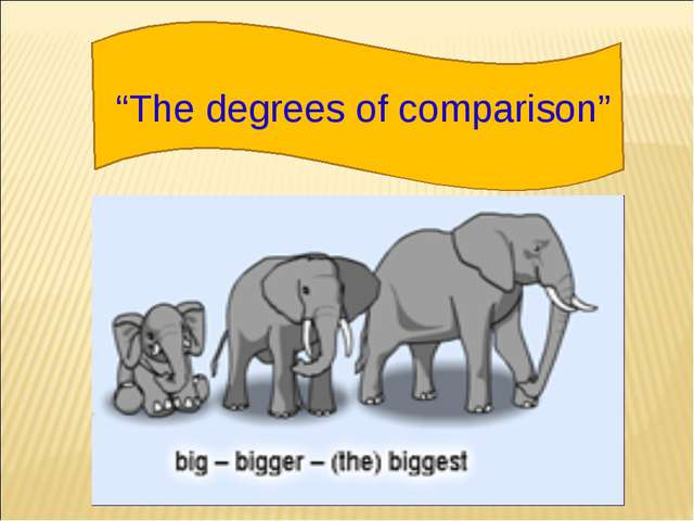 """""""The degrees of comparison"""""""