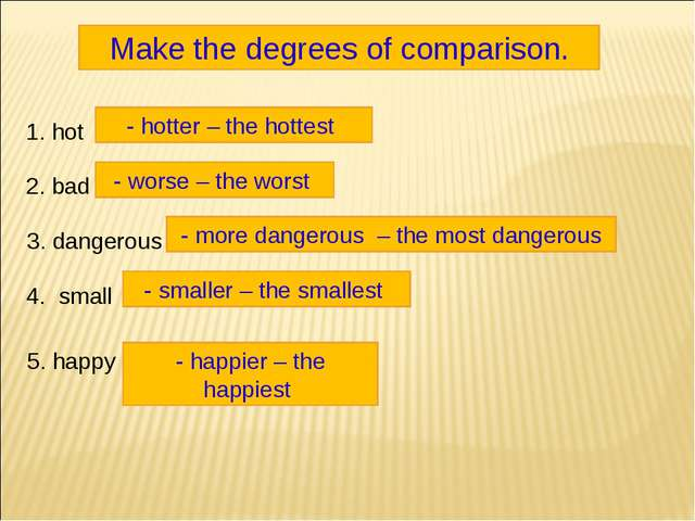 Make the degrees of comparison. 1. hot 2. bad 3. dangerous 4. small 5. happy...
