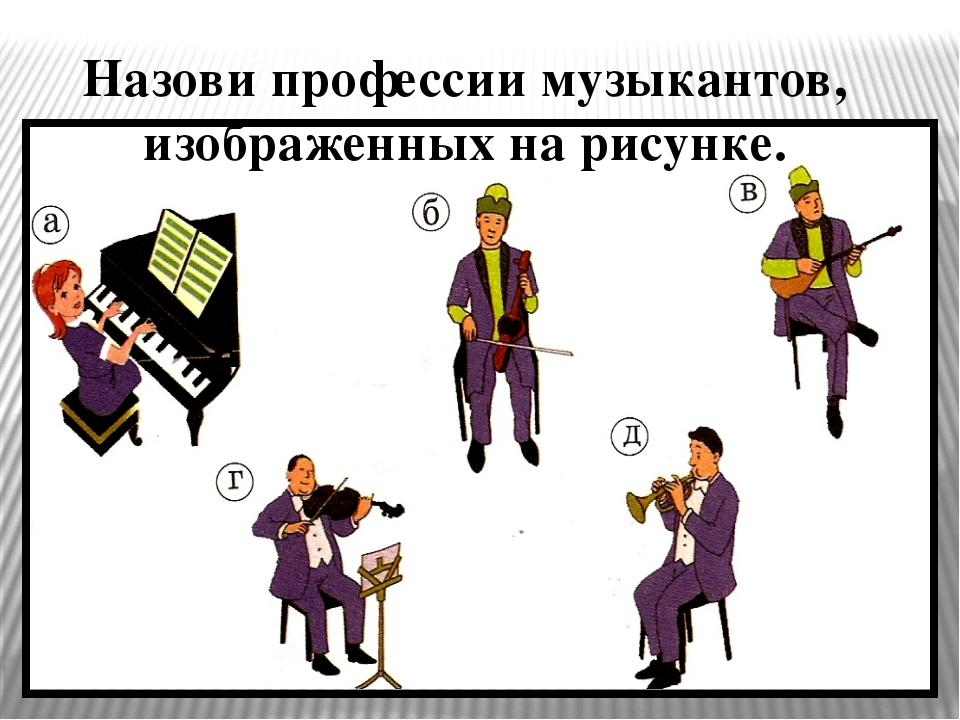Назови профессии музыкантов, изображенных на рисунке.