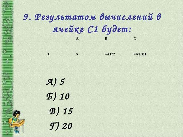 9. Результатом вычислений в ячейке С1 будет: А) 5 Б) 10 В) 15 Г) 20