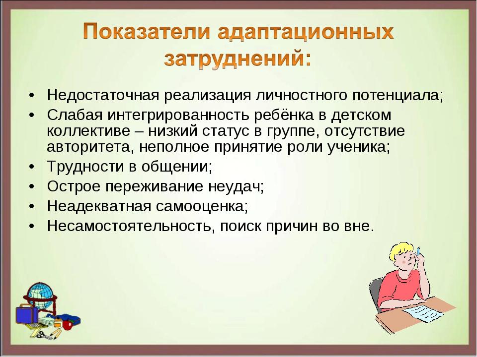 Недостаточная реализация личностного потенциала; Слабая интегрированность реб...