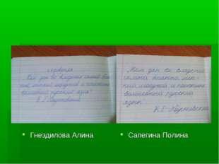 Гнездилова Алина Сапегина Полина