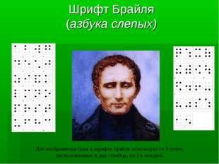 Шрифт Брайля (азбука слепых) Для изображения букв в шрифте Брайля используютс