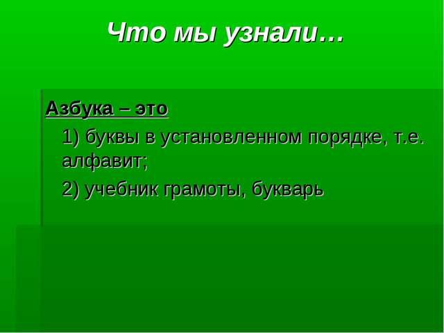 Что мы узнали… Азбука – это 1) буквы в установленном порядке, т.е. алфавит;...