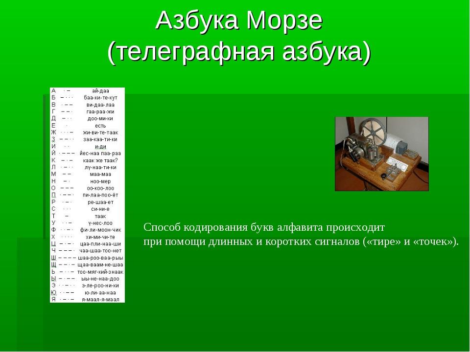 Азбука Морзе (телеграфная азбука) Способ кодирования букв алфавита происходит...