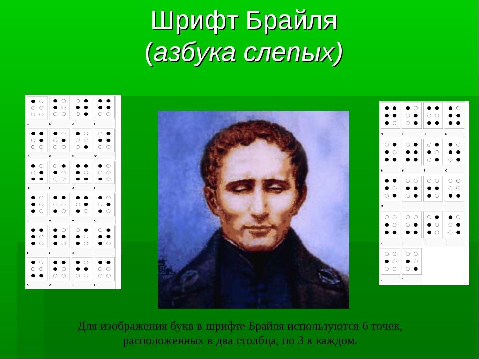 Шрифт Брайля (азбука слепых) Для изображения букв в шрифте Брайля используютс...