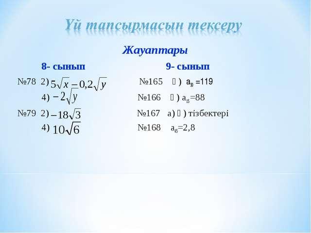 Жауаптары 8- сынып 9- сынып №78 2) №165 ә) а30 =119 4) №166 ә) а15 =88 №79 2...