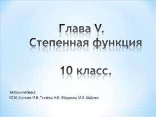Авторы учебника: Ю.М. Колягин, М.В. Ткачёва, Н.Е. Фёдорова, М.И. Шабунин