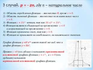 Область определения функции – множество R, кроме x = 0. Область значений функ
