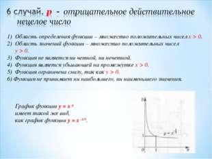 Область определения функции – множество положительных чисел x > 0. Область зн