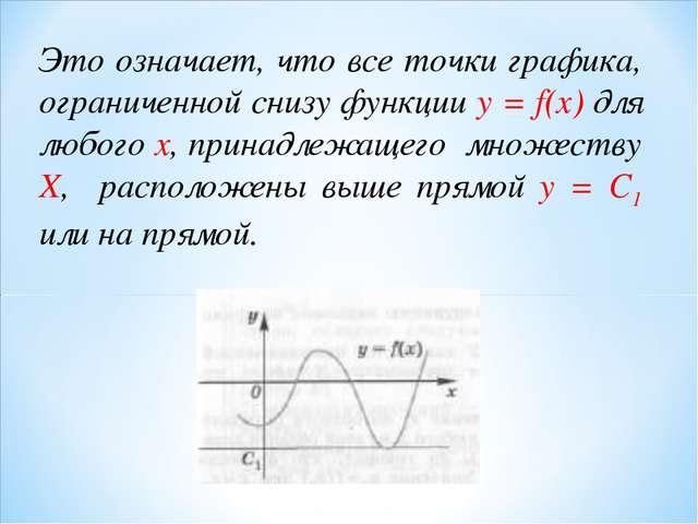 Это означает, что все точки графика, ограниченной снизу функции у = f(x) для...