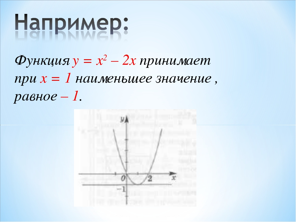 Функция у = x2 – 2x принимает при x = 1 наименьшее значение , равное – 1.