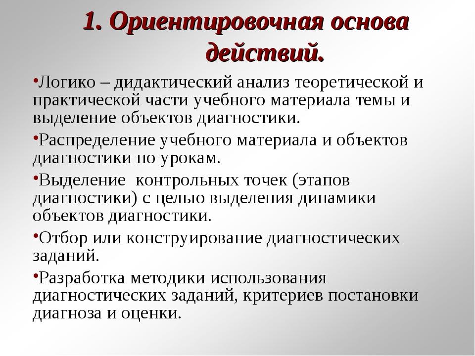 1. Ориентировочная основа действий. Логико – дидактический анализ теоретическ...