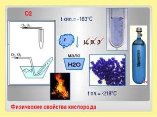 Физические свойства кислорода t кип.= -183°С t пл.= -218°С О2 г Ц, В, З H2O м