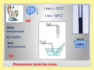 t кип.= -112°С t пл.= -197°С Ц (голубой) запах электрический вкус металлическ