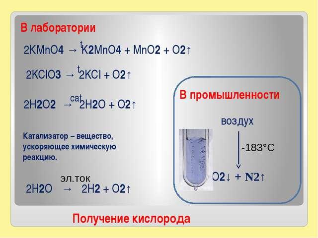 2КMnO4 → K2MnO4 + MnO2 + O2↑ Получение кислорода 2H2O2 → 2H2O + O2↑ 2KClO3 →...