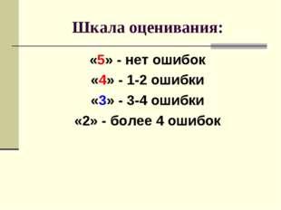 Шкала оценивания: «5» - нет ошибок «4» - 1-2 ошибки «3» - 3-4 ошибки «2» - бо