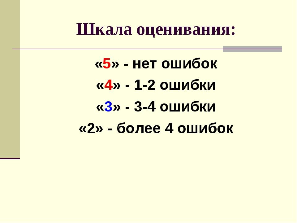 Шкала оценивания: «5» - нет ошибок «4» - 1-2 ошибки «3» - 3-4 ошибки «2» - бо...