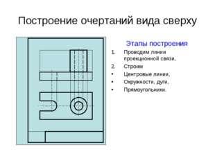 Построение очертаний вида сверху Этапы построения Проводим линии проекционной