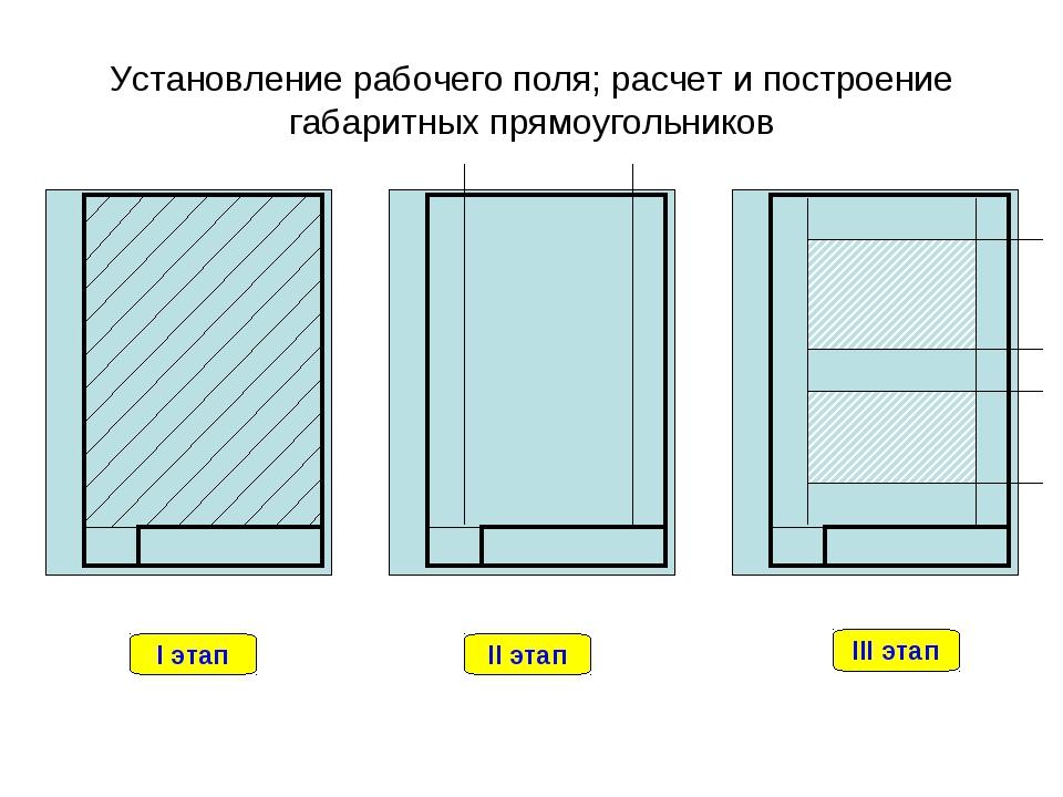 Установление рабочего поля; расчет и построение габаритных прямоугольников I...