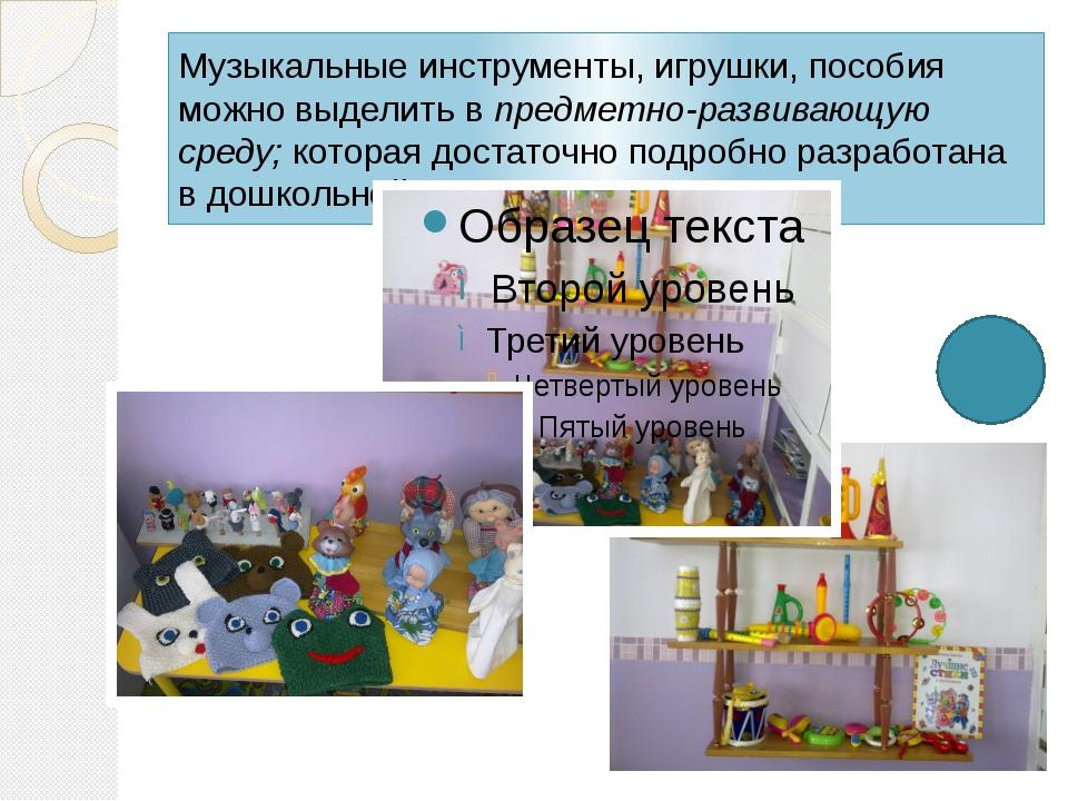Музыкальные инструменты, игрушки, пособия можно выделить впредметно-развиваю...