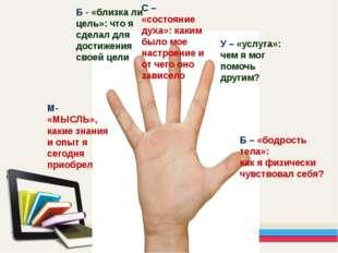 М- «МЫСЛЬ», какие знания и опыт я сегодня приобрел Б - «близка ли цель»: что