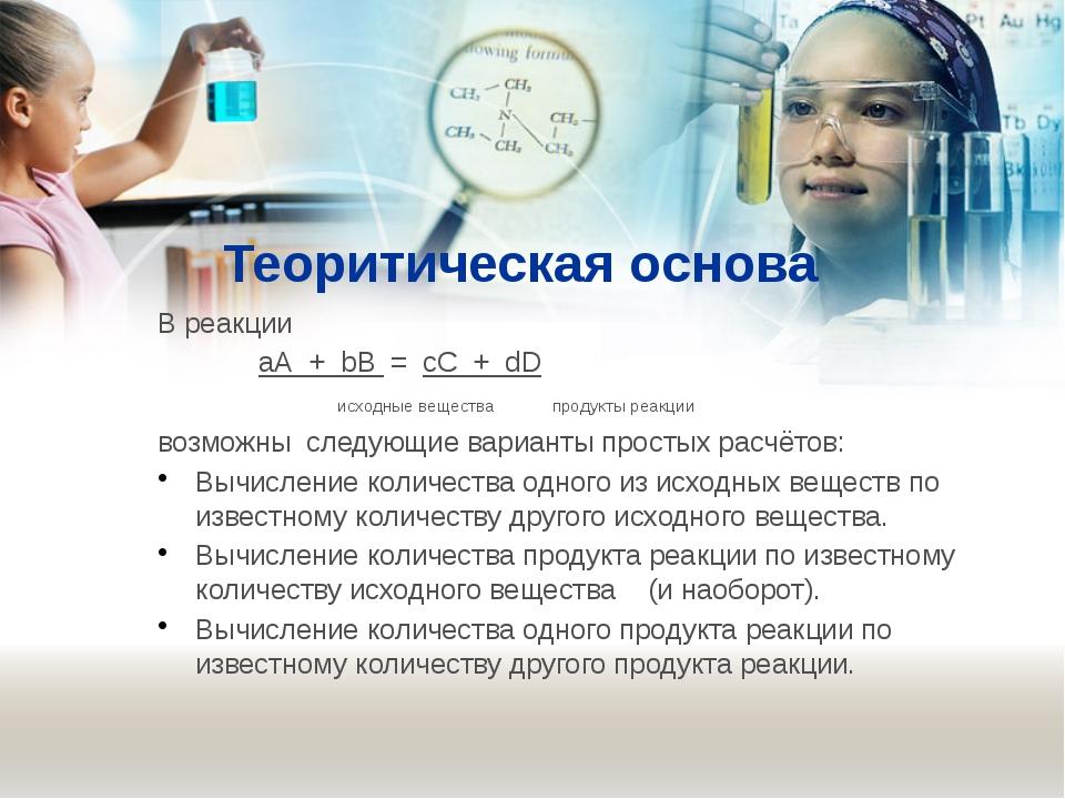 Теоритическая основа В реакции аА + bВ = сС + dD исходные вещества продукты...