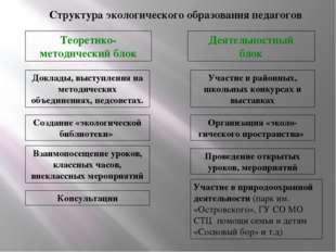 Структура экологического образования педагогов Теоретико- методический блок Д