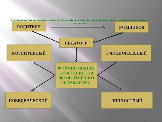 Взаимосвязь субъектов воспитательно- образовательного процесса с целью форми...