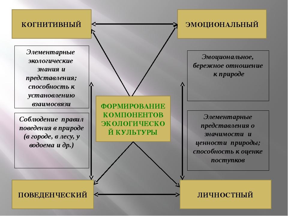 ФОРМИРОВАНИЕ КОМПОНЕНТОВ ЭКОЛОГИЧЕСКОЙ КУЛЬТУРЫ КОГНИТИВНЫЙ ЭМОЦИОНАЛЬНЫЙ ЛИЧ...