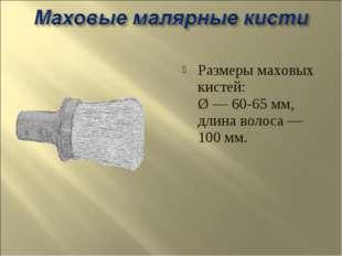 Размеры маховых кистей: Ø — 60-65 мм, длина волоса — 100 мм.