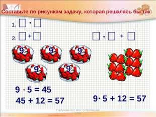 + Составьте по рисункам задачу, которая решалась бы так: 9 9 9 9 9 1. 2. 9 5