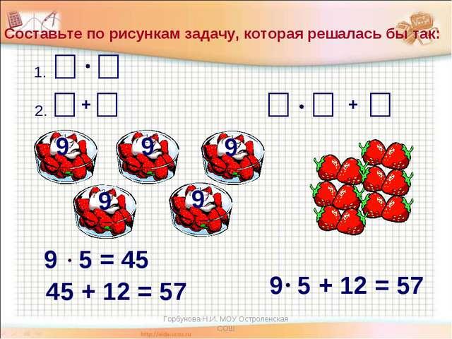 + Составьте по рисункам задачу, которая решалась бы так: 9 9 9 9 9 1. 2. 9 5...