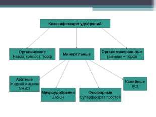 Органоминеральные (аммиак + торф) Органические Навоз, компост, торф Минеральн