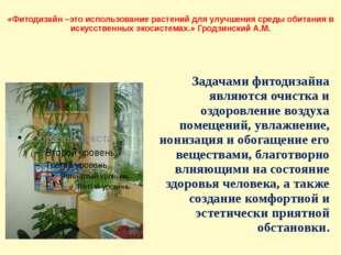 «Фитодизайн –это использование растений для улучшения среды обитания в искусс