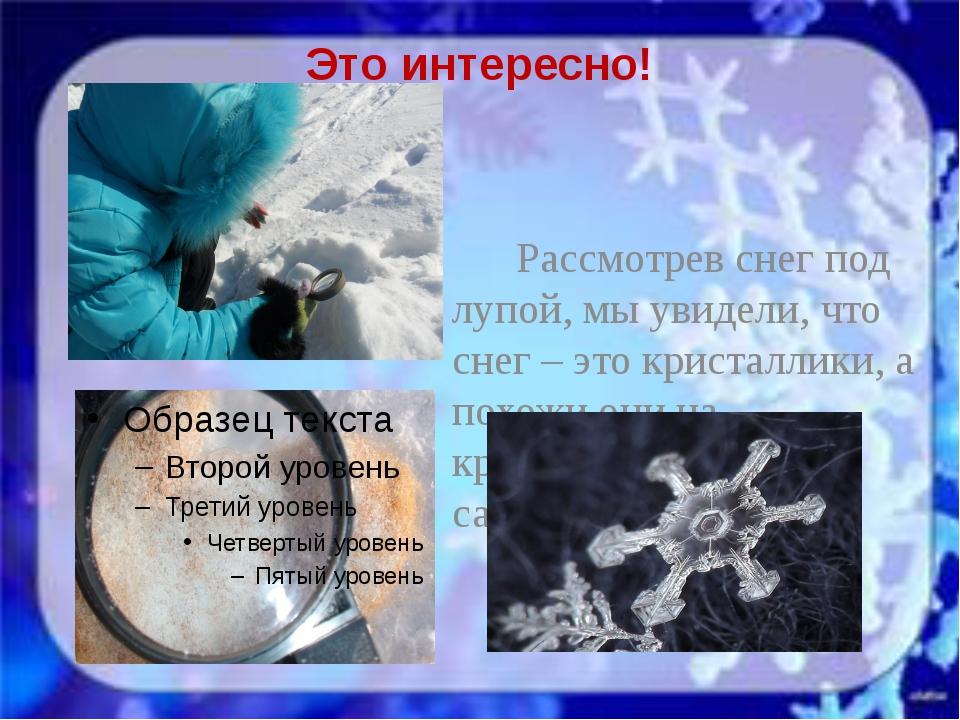 Это интересно! Рассмотрев снег под лупой, мы увидели, что снег – это кристалл...