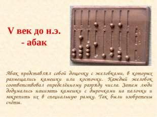 V век до н.э. - абак Абак представлял собой дощечку с желобками, в которых ра