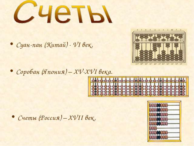 Соробан (Япония) – XV-XVI века. Суан-пан (Китай) - VI век. Счеты (Россия) – X...